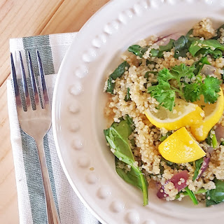 Quinoa Salad with Spinach & Onions.