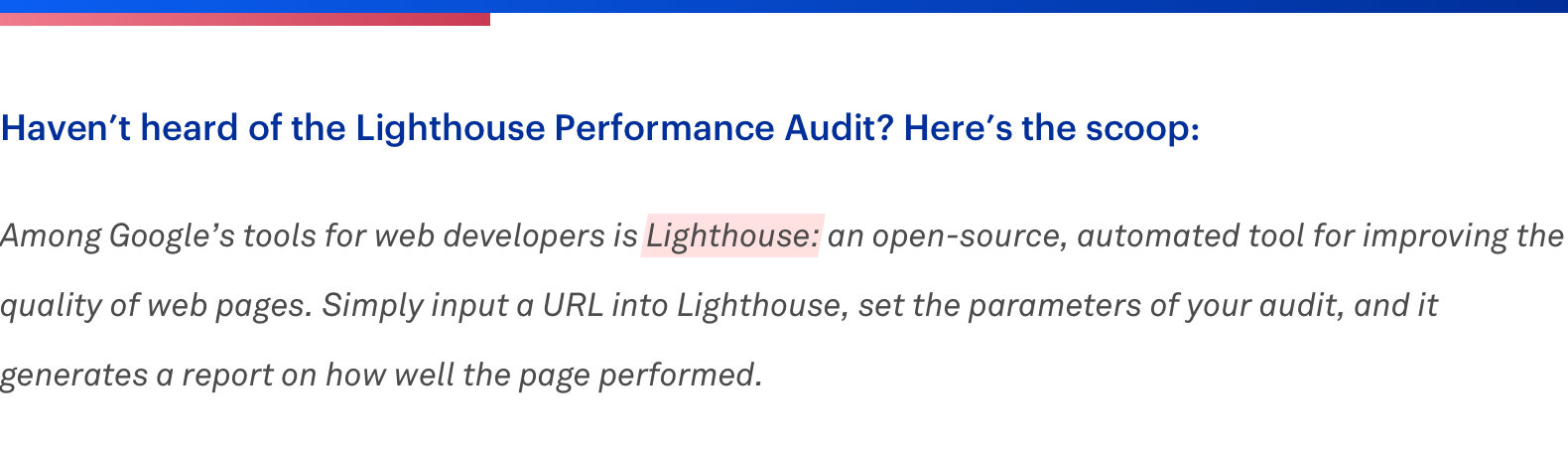 lighthouse performance audit