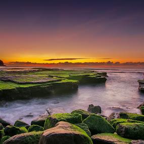 Turimetta Beach by Anton Subiyanto - Landscapes Beaches ( clouds, water, beaches, sunset, long exposure, sunrise, beach, landscape )