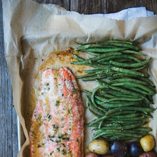 Sheet Pan Salmon Dinner with Baby Potatoes and Green Beans.