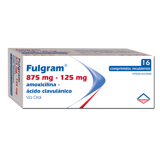 Amoxicilina + Acido Clavulanico Fulgram 875/125mg x 16 Comprimidos