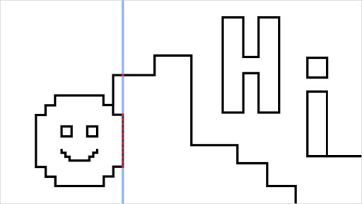 """A black line drawing of a smiley face and the word """"Hi"""". A blue vertical line indicates where the user is exploring the horizontal pixels of the drawing"""