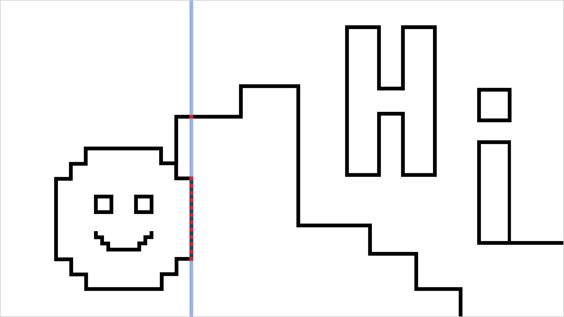 "A black line drawing of a smiley face and the word ""Hi"". A blue vertical line indicates where the user is exploring the horizontal pixels of the drawing"
