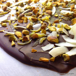 Lime, Coconut, and Pistachio Dark Chocolate Bark