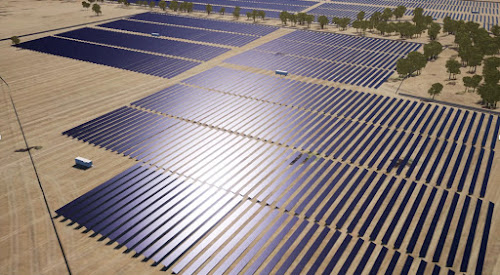 A simulation of what the proposed Narrabri South Solar Farm would look like when finished. The solar panels have been overlaid on the actual site. The bright area in the middle of this image represents the sun shining on some of the panels.