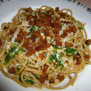 Whole Wheat Spaghetti with Parsley, Anchovies, Olive Oil, Parmesan and Breadcrumbs.