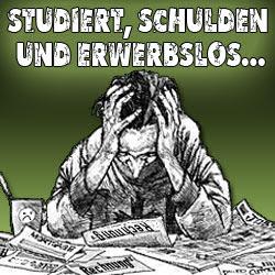 Bildmontage: Verzweifelter Mensch. «Studiert, Schulden und erwerbslos».