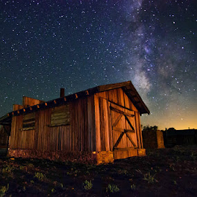 Milky Way Over Fort Griffin. by Craig Curlee - Travel Locations Landmarks ( field, barn, stars, texas, milky way )
