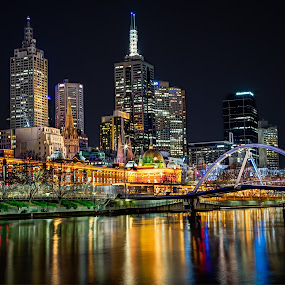 Melbourne Skyline by Phil Hanna - Buildings & Architecture Public & Historical ( flinder street station, yarra river, melbourne, australia, victoria, night )