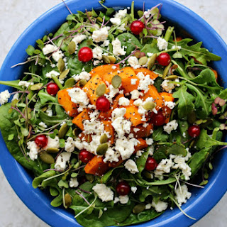 Warm Roasted Squash Salad With Red Currants + Maple Tahini Dressing