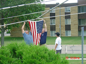 Photo: Hanging the Stars and Stripes
