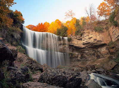 A pretty waterfall at Webster's Falls on the Niagara Escarpment in Dundas, Ontario.