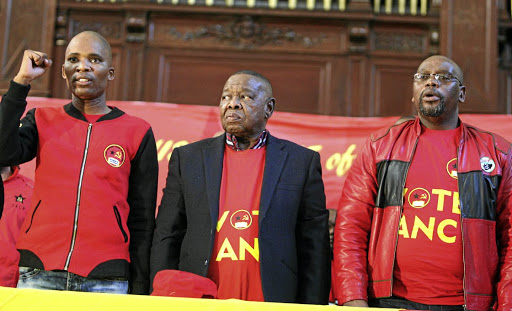 YCL secretary Mluleki Dlelanga is seen with Blade Nzimande and S'dumo Dlamini. He has reminded those leaking stories to the media that he still has the power to hire and fire party officials. / Antonio Muchave