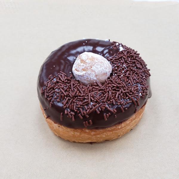 A Cronut with chocolate ganache glaze.... yumi