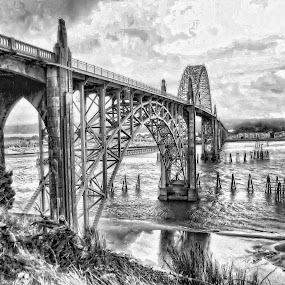 Newport Bridge by Christy Sawyer - Buildings & Architecture Bridges & Suspended Structures ( water, oregon, black and white, bridge )
