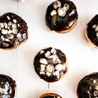 Dark Chocolate and Malt Custard Filled Doughnuts