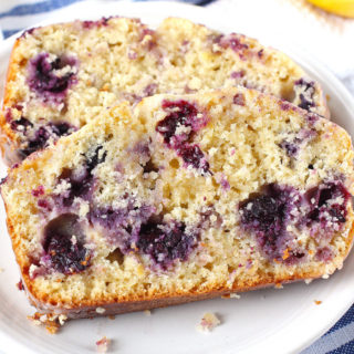 Lemon Blueberry Bread with Lemon Glaze.