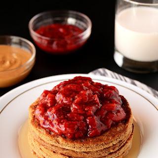 Peanut Butter & Jelly Oat Pancakes (vegan, gluten-free)