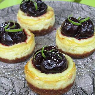 MINI CHERRY-LIME GREEK YOGURT CHEESECAKES Recipe