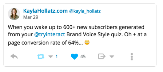 tweet about getting 600+ new subscribers overnight from a quiz
