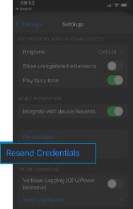 smartphone app resend credentials