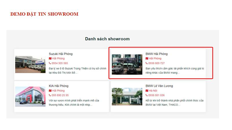 Vị trí hiển thị thông tin chi tiết về đại lý, showroom