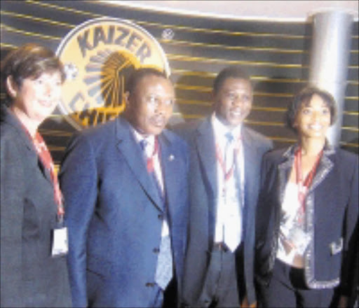 FRONT LINE: MEC for sports, arts, culture and recreation Barbara Creecy, LOC chairman Irvin Khoza, Gauteng Premier Paul Mashatile and Kaizer Chiefs' Jessica Motaung at the Soccerex yesterday.  24/11/2008. Pic. Unknown