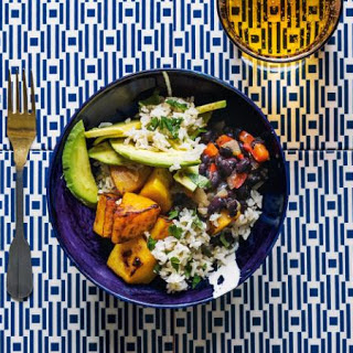 ​Brown rice with pumpkin, black beans and avocado.