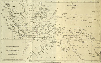 Photo: Map of the Malay Archipelago showing Wallace's Line. From Wallace's 1863 paper On the Physical Geography of the Malay Archipelago. Journal of the Royal Geographical Society, 33: 217-234. Copyright of photograph: G. W. Beccaloni.