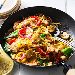 Honey & Soy Chicken Stir Fry with Mushrooms and Hokkien Noodles.