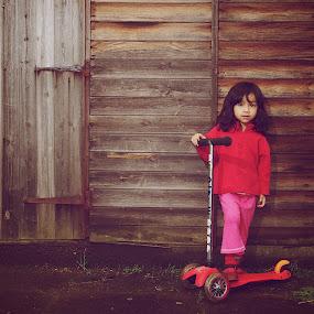 Scooter Girl by Ibrahim Johan - Babies & Children Child Portraits ( tone, strobist, children )