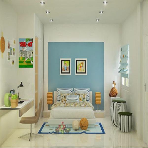 Màu xanh giữa sắc trắng giúp cho phòng ngủ được ấn tượng hơn
