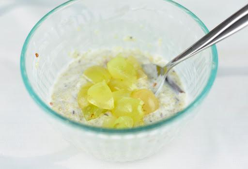 quinoa rice with yogurt and grapes