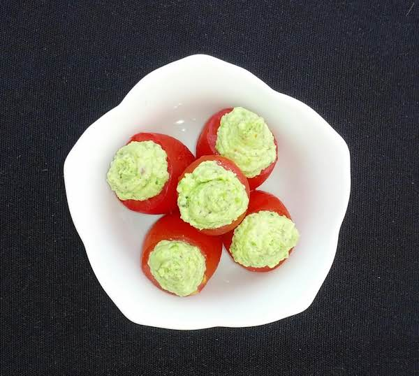 Pesto Pea Mousse Stuffed Cherry Tomatoes Recipe