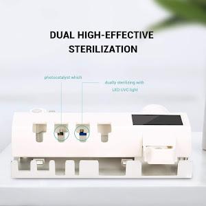 Dozator pentru pasta de dinti cu alimentare solara si sterilizator UV pentru periute