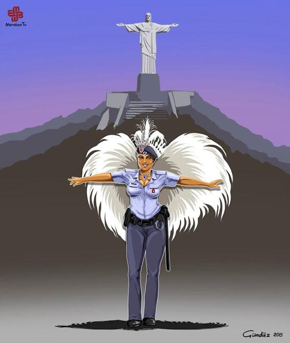 Noticias criminología. Ilustraciones que muestran la policía de diversos países. Brasil. Marisol Collazos Soto. Criminologia, ciencia, escepticismo