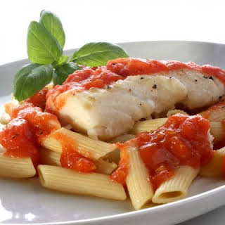 Fresh Tilapia with Penne and Tomato Sauce.