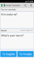 Screenshot of Yoruba English Translator
