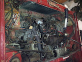 Photo: Radiator and fuel injection removed.
