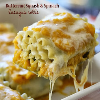 Butternut Squash and Spinach Lasagna Rolls.