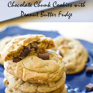 Chocolate Chunk Cookies with Peanut Butter Fudge