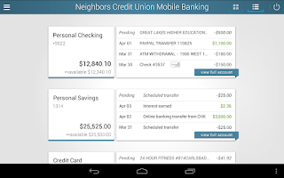 Screenshot of Neighbors Credit Union
