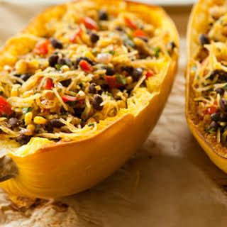 Spicy Spaghetti Squash with Black Beans.
