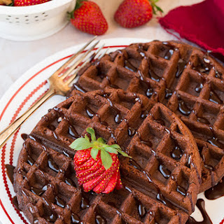 Chocolate Cake Mix Waffles (only 4 Ingredients)