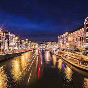 Amsterdam by Nicholas  H - City,  Street & Park  Vistas ( street, light trails, amsterdam, canal, cruise, night, lights,  )