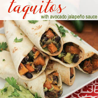 Black Bean & Sweet Potato Taquitos with Avocado Jalapeño Sauce.