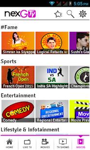 nexGTv - Live TV,Movies,Videos- screenshot thumbnail