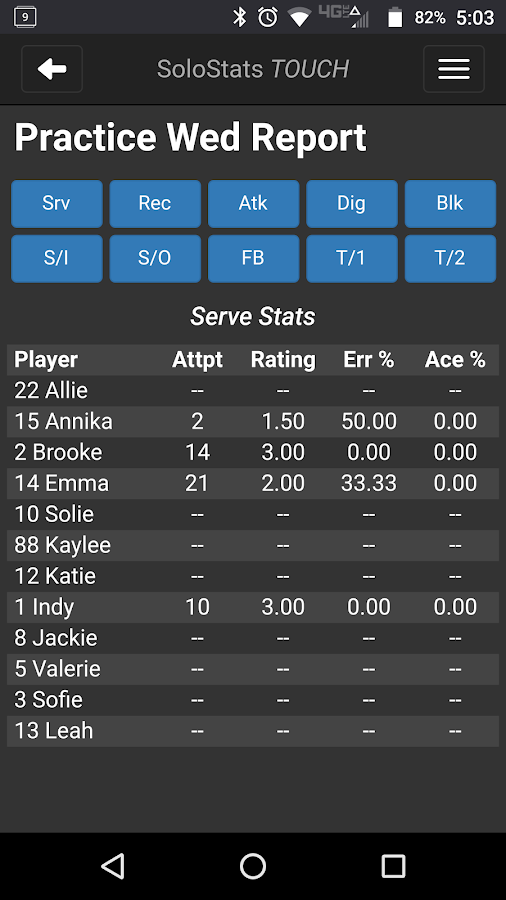 SoloStats Touch Volleyball- screenshot