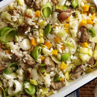 One-Pot Oven Baked lamb and leek risotto.