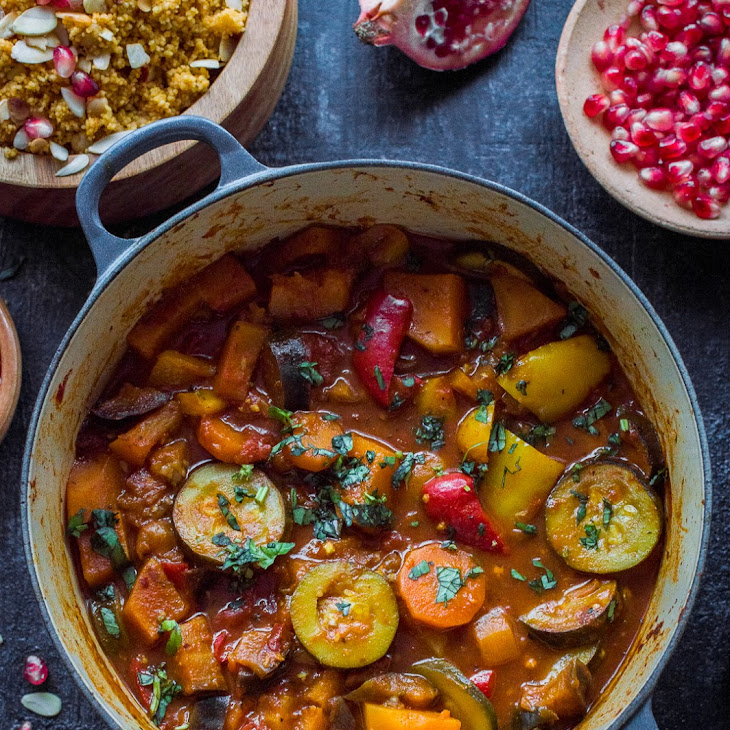 Vegetable Tagine with Almond and Chickpea Couscous Recipe